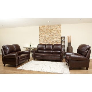 Abbyson Living Madison Premium Grade Leather Pushback Reclining Sofa Set