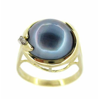 Kabella 14k Gold Mabe Pearl and 0.01ct TDW Diamond Ring (I, I3) (13 mm)