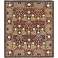 Indo Kazak Hand-knotted Maroon Wool Rug (8' x 10')