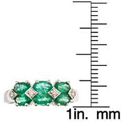 D'Yach 14k White Gold Emerald and Diamond Ring
