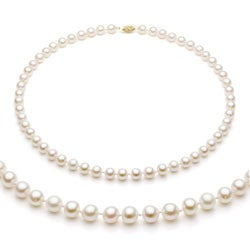 DaVonna 14k Gold White Akoya Pearl High Luster 24-inch Necklace (6.5-7 mm)