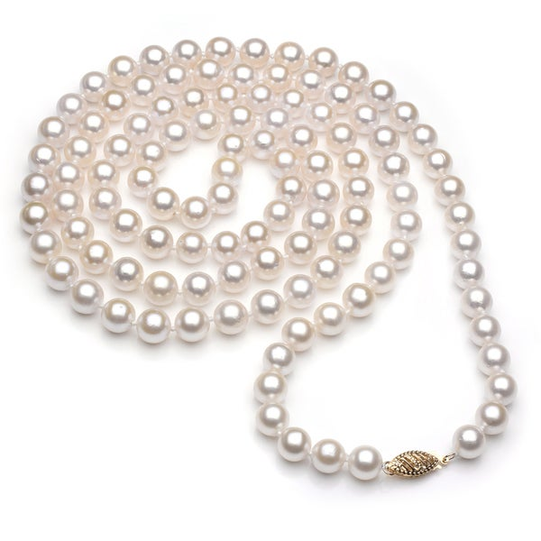 DaVonna 14k Gold White Akoya Pearl High Luster 36-inch Necklace (6.5-7 mm)