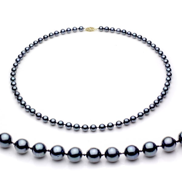DaVonna 14k Gold Black Akoya Pearl High Luster 24-inch Necklace (6.5-7 mm)