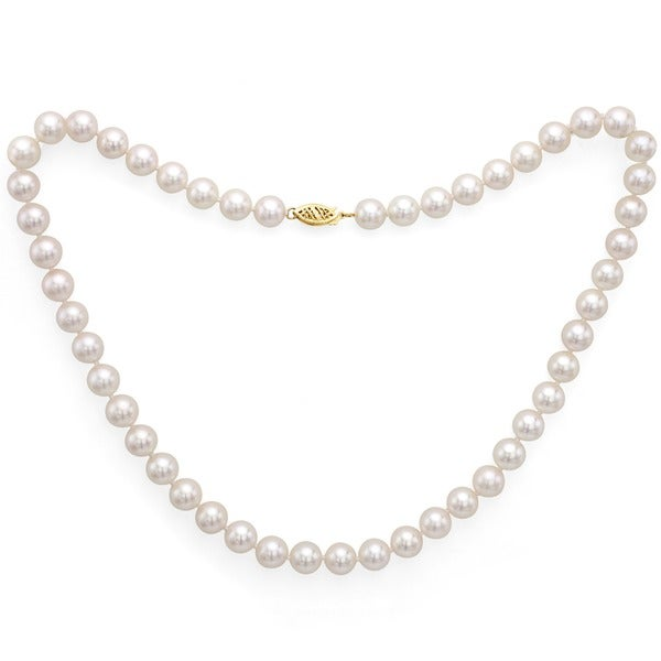 DaVonna 14k White Gold Akoya Pearl Necklace with Gift Box (7-7.5mm)