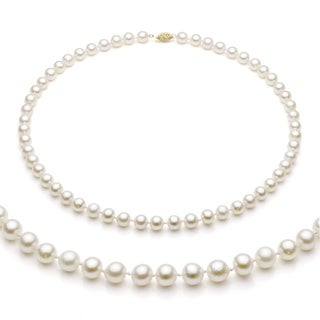 DaVonna 14k Gold White Akoya Pearl High Luster 24-inch Necklace (7-7.5 mm)