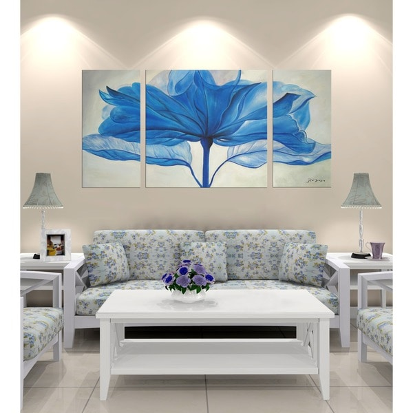Hand-painted 'Blue Flower' Gallery-wrapped 3-piece Art Set