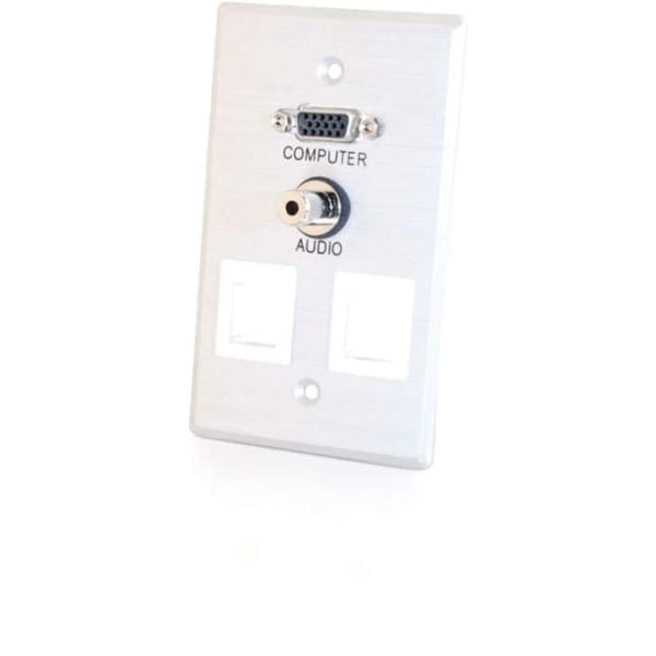 C2G Single Gang HD15 + 3.5mm + (2) Keystone Wall Plate - Brushed Alum