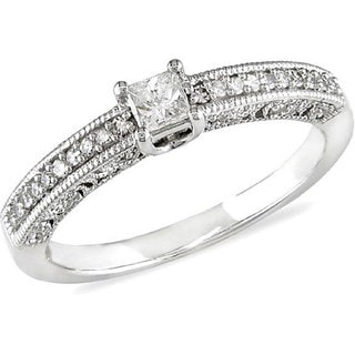 Miadora 10k White Gold 1/4ct TDW Princess Cut Diamond Ring (H-I, I2-I3) with Bonus Earrings