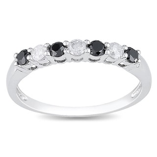 Miadora 10k Gold 1/2ct TDW Black and White Round-cut Diamond Ring (H-I, I2-I3)