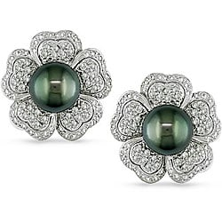 Miadora 18k Gold Tahitian Pearl and 1 1/2ct TDW Diamond Earrings (G-H, SI2-I1) (10-11 mm)