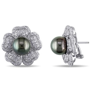 Miadora Signature Collection 18k Gold Tahitian Pearl 1 1/2ct TDW Diamond Earrings (G-H, SI2-I1) (10-11 mm)