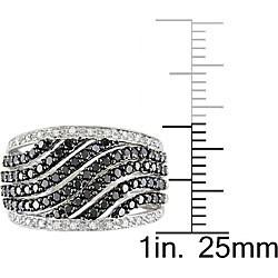 Miadora 10k Gold 1ct TDW Black and White Diamond Ring (H-I, I1-I2)