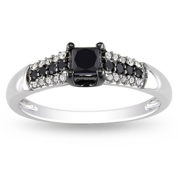 Miadora 10k Gold 1/2ct TDW Black and White Princess-cut Diamond Ring (H-I, I2-I3)