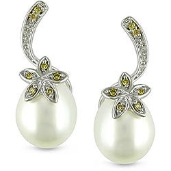 Miadora 10k White Gold Pearl and Yellow Diamond Earrings (7.5-8 mm)