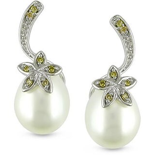 Miadora 10k White Gold Cultured Freshwater Pearl and Yellow Diamond Earrings (7.5-8 mm)