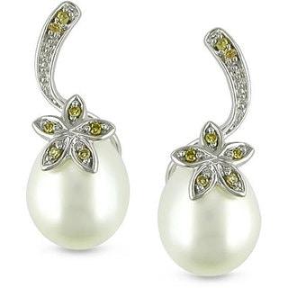 Miadora 10k White Gold Pearl and Yellow Diamond Earrings (7.5-8 mm)