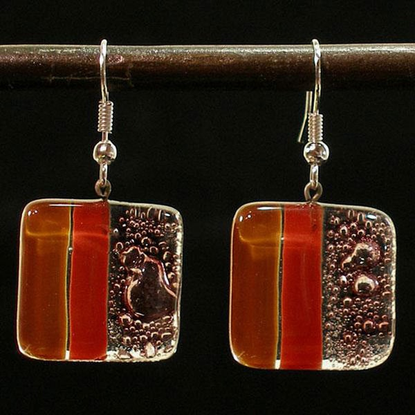Caramel Strawberry Delight Fused Glass Earrings (Chile)