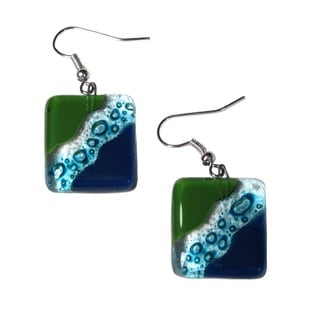 Fused Glass Ocean River Meadow Earrings (Chile)