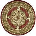 Safavieh Handmade Classic Burgundy/ Beige Wool Rug (3'6 Round)