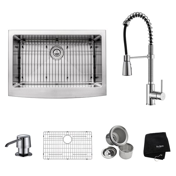 Kraus Kitchen Combo Set Stainless Steel 30-inch Farmhouse Sink with ...
