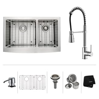 Scratch-Resistant Kraus Stainless Steel Farmhouse Kitchen Sink, Chrome Faucet/ Dispenser