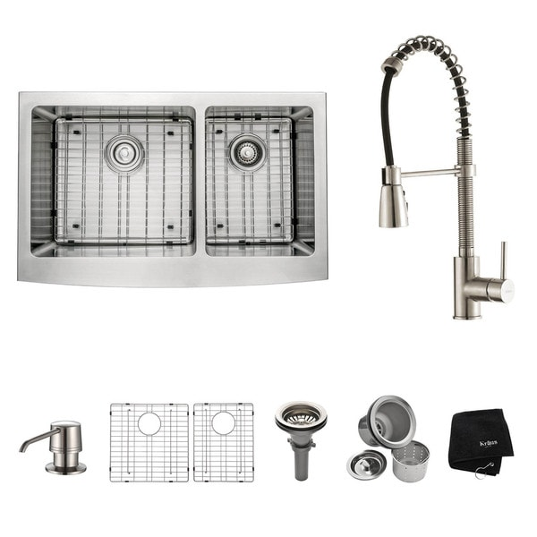 Kraus Kitchen Combo Set Stainless Steel 33-inch Farmhouse Sink with Faucet
