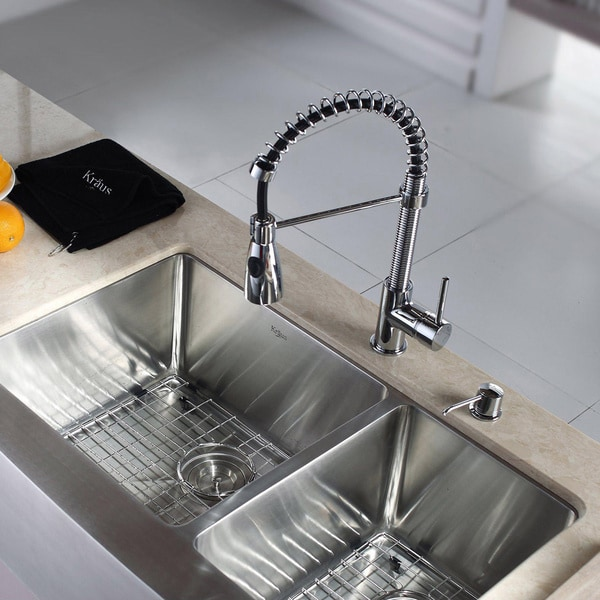 20 Inch Farmhouse Sink : Kraus Kitchen Combo Set Stainless Steel 33-inch Farmhouse Sink with ...