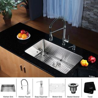 Kraus Stainless Steel Undermount Kitchen Sink, Chrome Faucet/ Dispenser