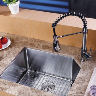 Kraus Scratch-Resistant Stainless-Steel Undermount Kitchen Sink, Chrome Faucet/Dispenser