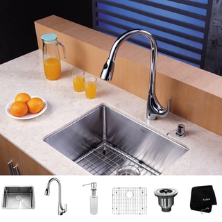 Kraus Kitchen Combo 23-inch Steel Undermount Sink with Faucet