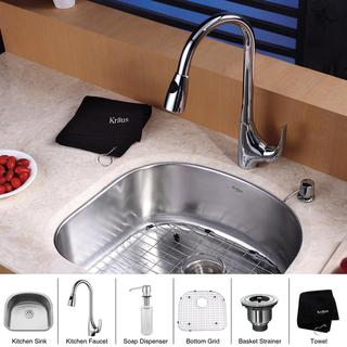 Kraus Stainless-Steel Undermount Kitchen Sink, Chrome Single-Handle Faucet/Dispenser