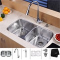 Kraus Double-Bowl Stainless-Steel Undermount Kitchen Sink, Chrome Faucet/Dispenser