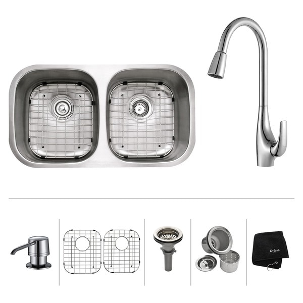 Kraus Kitchen Combo Double Steel Undermount Sink with Faucet