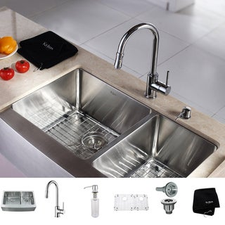 Kraus Kitchen Combo Set T-304 Stainless Steel Farmhouse Sink with Faucet