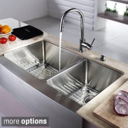 Kraus T-304 Stainless Steel Farmhouse Kitchen Sink, Chrome Faucet/ Dispenser