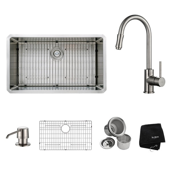 Kraus Kitchen Combo Set 30-inch Stainless Steel Undermount Sink with Faucet