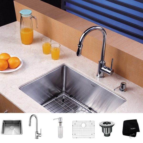 Kraus Kitchen Combo Set 23-inch Stainless Steel Undermount Sink with Faucet