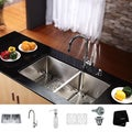 Kraus Satin-Finish Stainless-Steel Undermount Kitchen Sink, Chrome Faucet/Dispenser