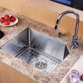 Kraus Single-Bowl Stainless-Steel Undermount Kitchen Sink, Chrome Faucet/Dispenser