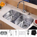 Kraus Stainless-Steel Undermount Kitchen Sink, Chrome Faucet/Soap Dispenser Combo