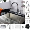 Kraus Stainless Steel Farmhouse Kitchen Sink, Brass Faucet/ Dispenser