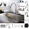 Kraus Kitchen Combo Set Stainless Steel 36-inch Farmhouse Sink with Faucet