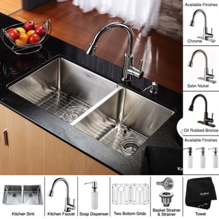 Kraus Large Stainless-Steel Undermount Kitchen Sink, Brass Faucet/Dispenser