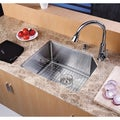 Kraus Scratch-Resistant Stainless-Steel Undermount Kitchen Sink, Brass Faucet/Dispenser