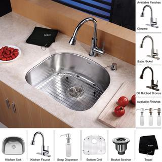 Kraus Kitchen Combo Set Stainless Steel Sat-in Undermount Sink with Faucet