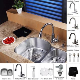 Kraus Stainless Steel Undermount Kitchen Sink/ Brass Faucet/ Dispenser