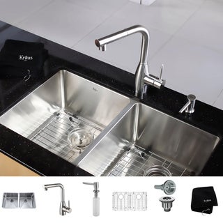 Kraus Kitchen Combo Set Stainless Steel 33-inch Undermount Sink with Faucet