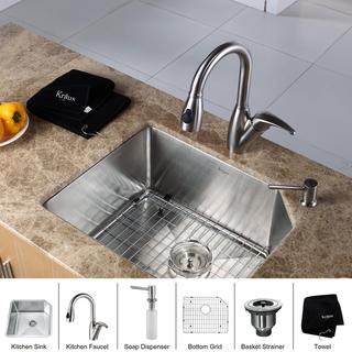 Kraus Contemporary Stainless-Steel Undermount Kitchen Sink, Faucet and Dispenser