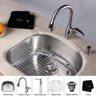 Kraus Kitchen Combo Set Stainless Steel Grade Undermount Sink with Faucet