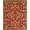 Handmade Flora Burgundy Wool Rug (9'x12')